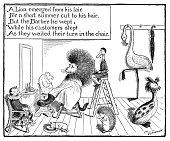 Antique children's book comic illustration: animals barber shop