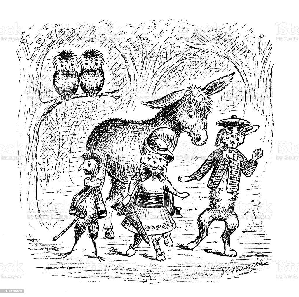 アンティークの本お子様の漫画イラスト 森の動物 のイラスト素材