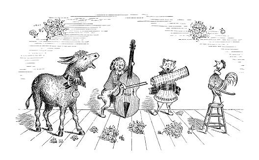 Antique children's book comic illustration: animals orchestra