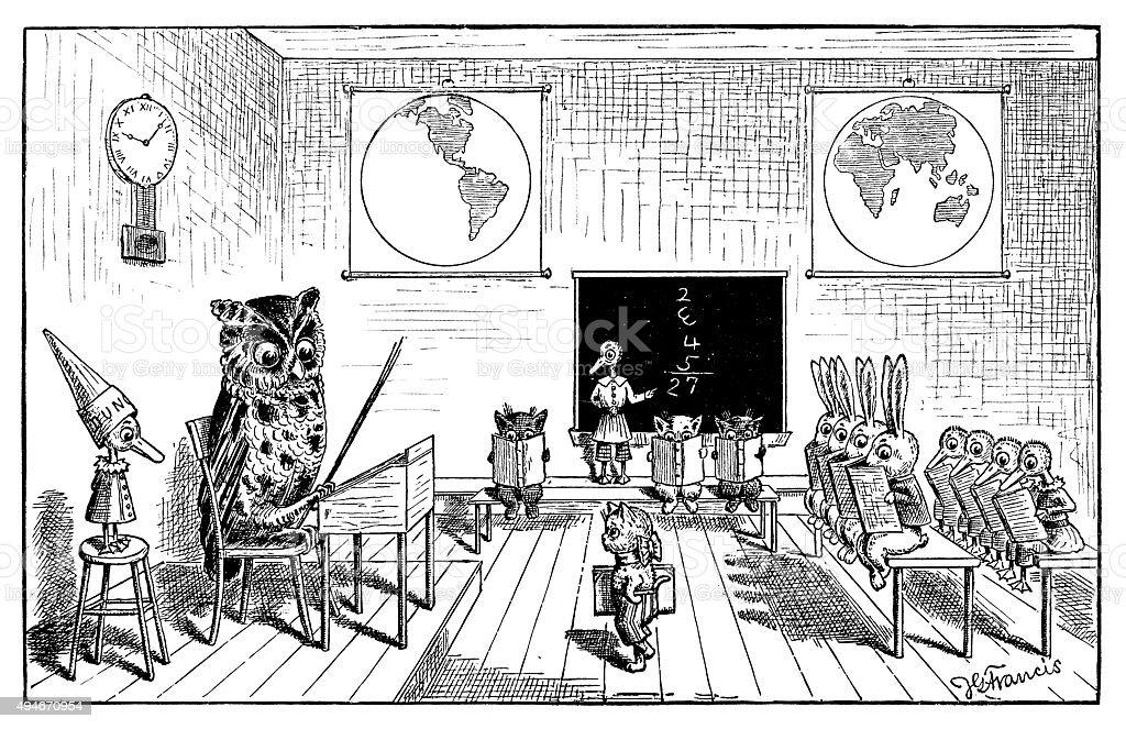 アンティークの本、お子様の漫画イラスト: アニマルズ学校 ベクターアートイラスト