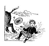 Antique children's book comic illustration: boy falling from riding donkey