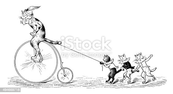 Antique children's book comic illustration: cat cycling