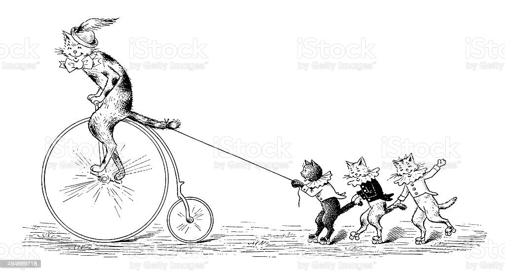 Antique children's book comic illustration: cat cycling vector art illustration