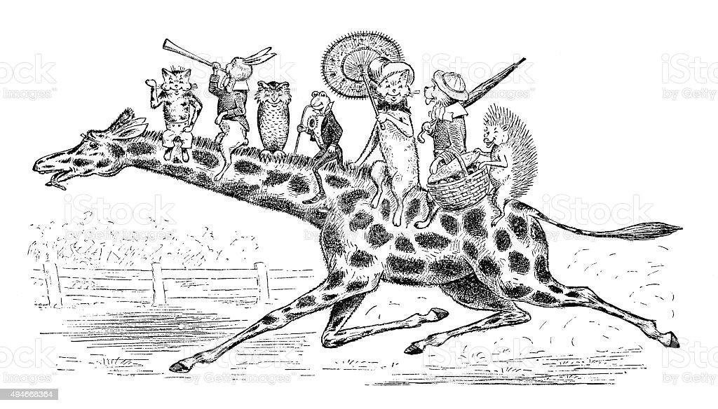 アンティークの本、お子様の漫画イラスト: 猫のキリン ベクターアートイラスト