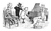 Antique children's book comic illustration: cats orchestra