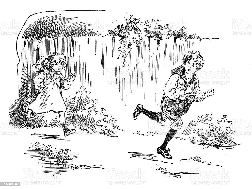 Antique children's book comic illustration: children running outdoor vector art illustration