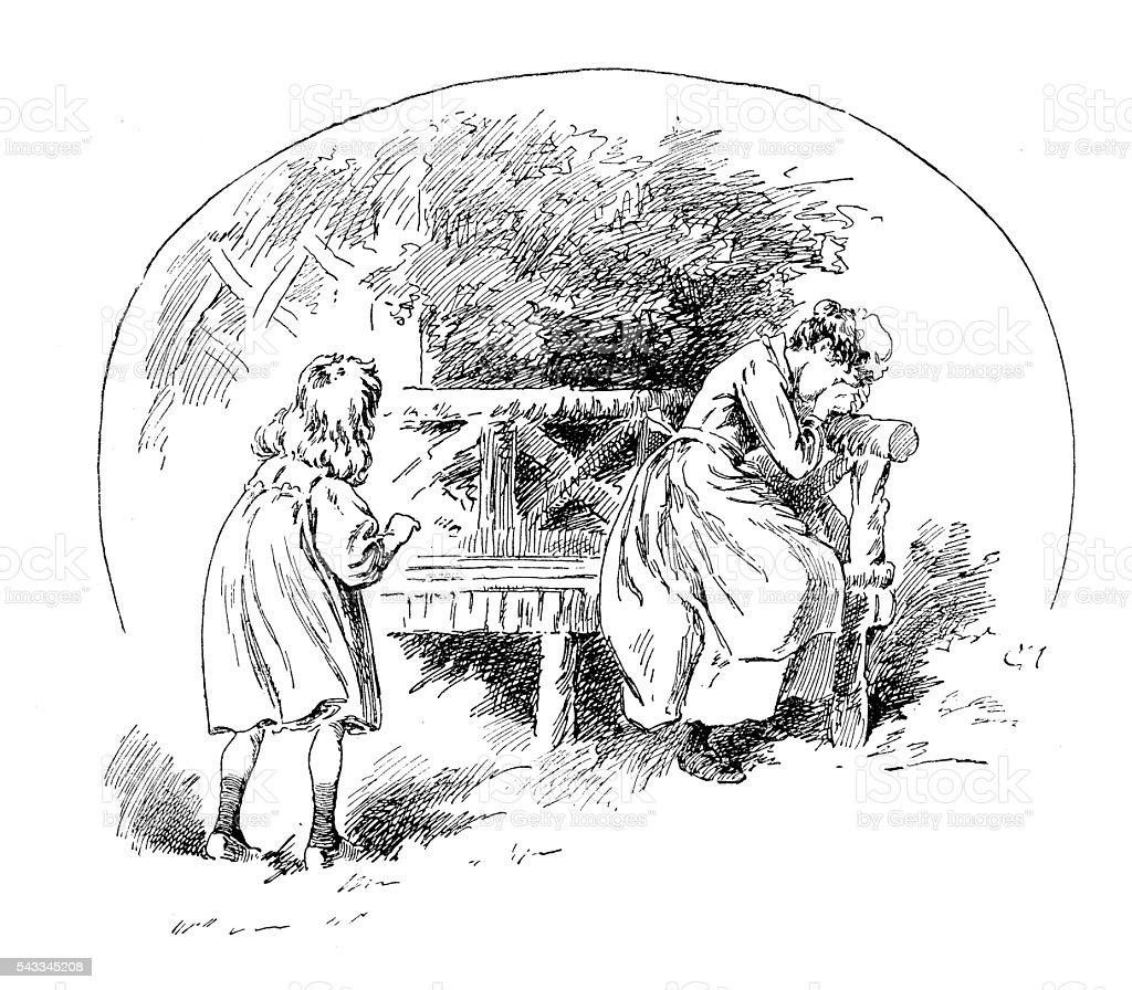 Antico Libro Per Bambini Illustrazione Fumetto Ragazza Piange Donna