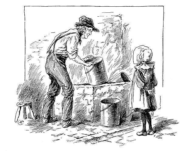 antique children's book comic illustration: girl and grandpa - old man funny pictures stock illustrations