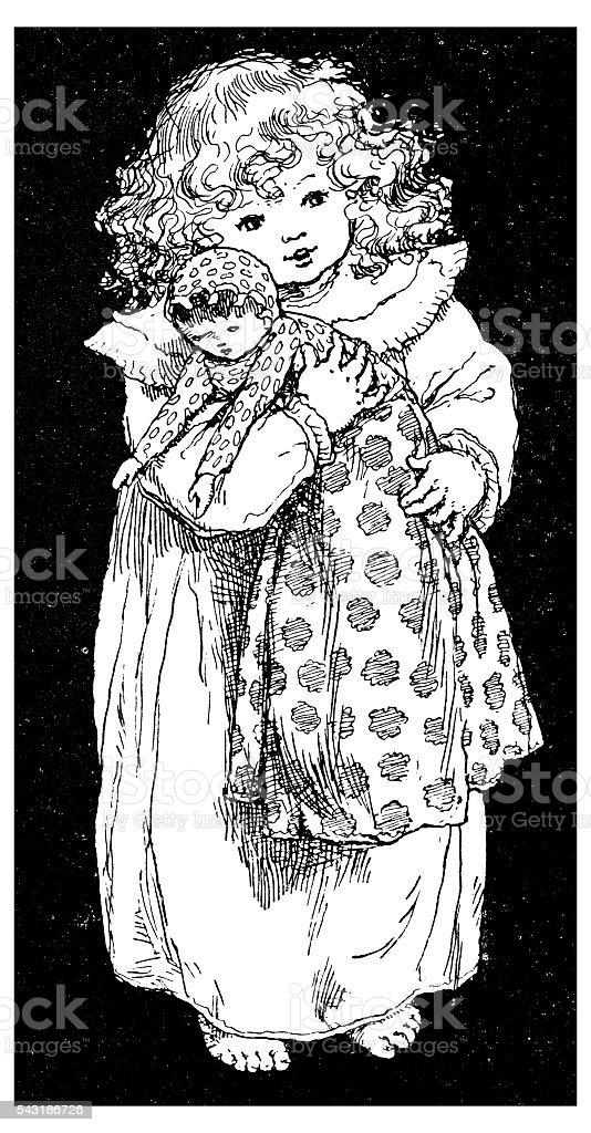 Antigo livro infantil ilustração cómica: Menina com Boneca - ilustração de arte vetorial
