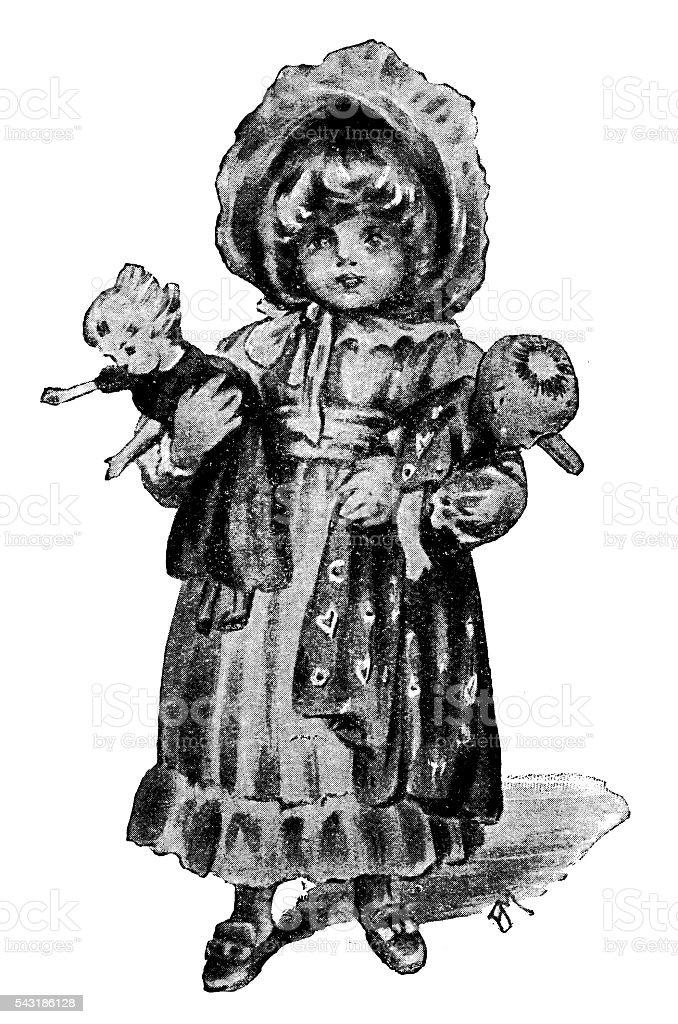Antigo livro infantil ilustração cómica: Menina com bonecas - ilustração de arte vetorial