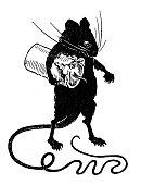 Antique children's book comic illustration: rat stealing candle