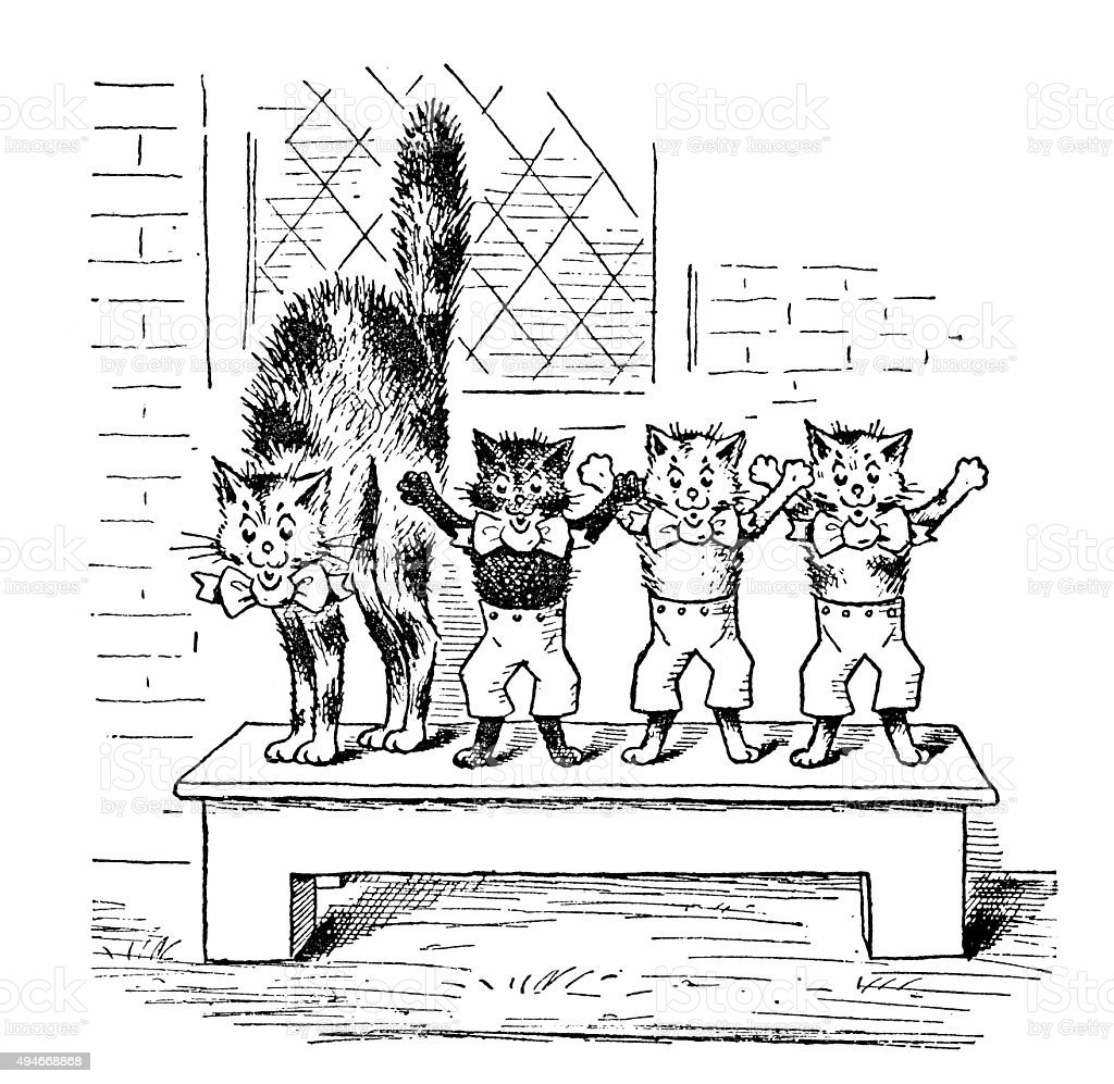 アンティークの本お子様の漫画イラスト 恐怖の猫 のイラスト素材