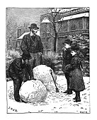 Antique children's picture book illustration - Children rolling snow into large balls with father watching
