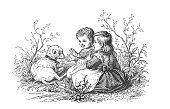 Antique children's picture book illustration - Girl and boy with a lamb