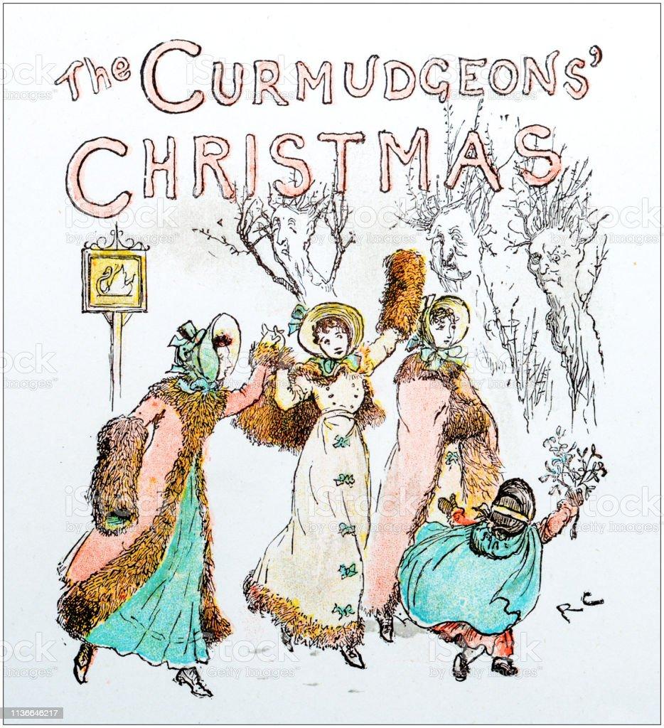 Antique color illustration by Randolph Caldecott Curmudgeons Christmas vector art illustration