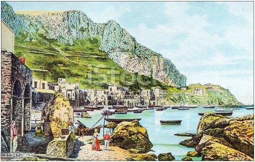 Antique color illustration from German children fable book: Capri