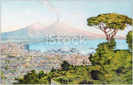 Antique color illustration from German children fable book: Naples