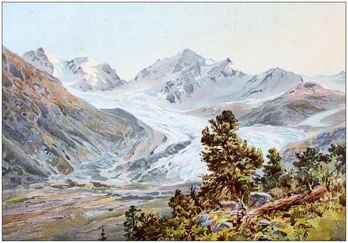 Antique colored illustrations: Rosegg glacier