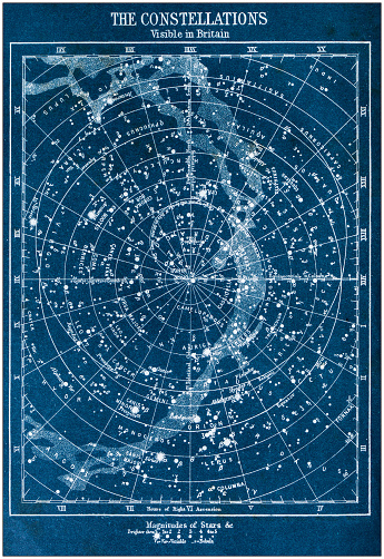 Antique colored illustrations: The constellations visible in Britain