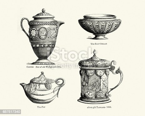 Vintage engraving of Antique crockery Coffee pot, Teapot, Salt cellar, Tankard