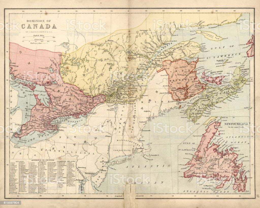 Antique damaged map of Dominion of Canada 19th Century vector art illustration