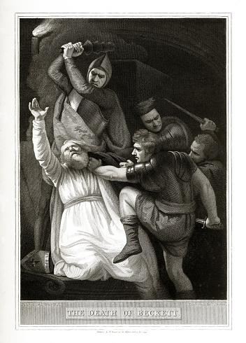 Antique, Death of Beckett, English Victorian Engraving, 1806