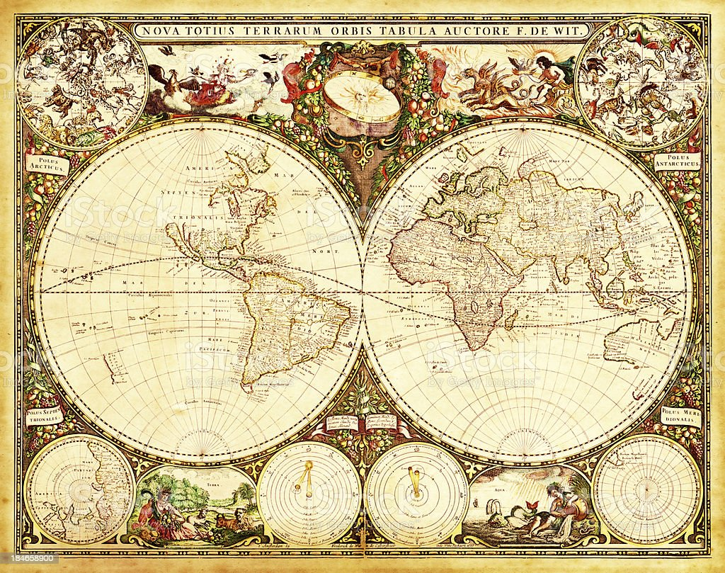 Antique Decorative World Map Stock Vector Art More Images Of