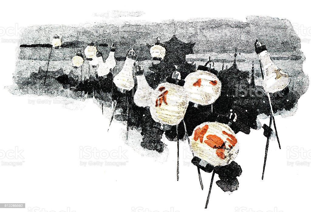 Antique dotprinted watercolor illustration of Japan: Lanterns vector art illustration