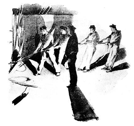 Antique dotprinted watercolor illustration of Japan: men pulling rope