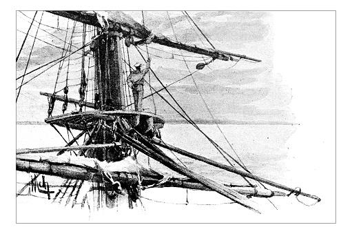 Antique dotprinted watercolor illustration of Japan: Ship at sea
