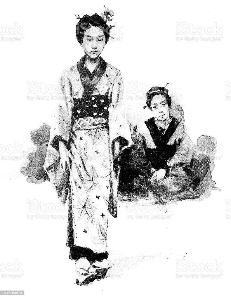 Antique dotprinted watercolor illustration of Japan: Young woman with mother vector art illustration