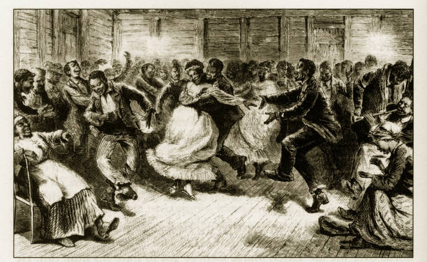 Antique Early American Engraving Depicting Social Issues, Circa 1850's vector art illustration