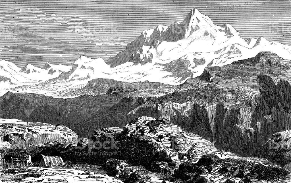 Antique engraved image of Mount Everest vector art illustration