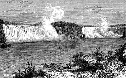 Antique engraved image of Niagara Falls