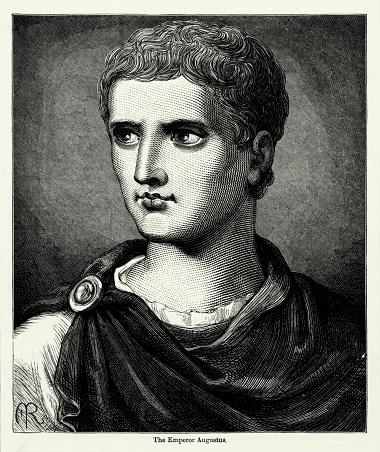 Antique Engraving: Caesar Augustus Roman Emperor Engraving