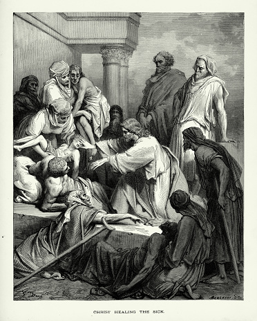 Antique Engraving: Christ Healing the Sick and Affirmed Biblical Engraving
