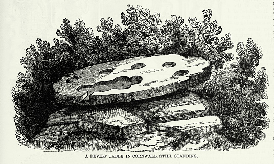 Antique Engraving: Devil's Table in Cornwall, England Engraving