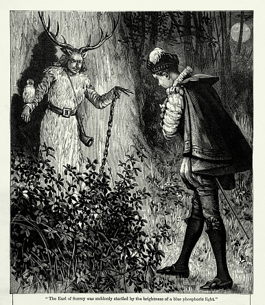Very Rare, Beautifully Illustrated Victorian Antique Engraving of Earl of Surrey With a Ghost Victorian Engraving from Chatterbox Illustrated Magazine. Published in 1894. Copyright has expired on this artwork. Digitally restored.