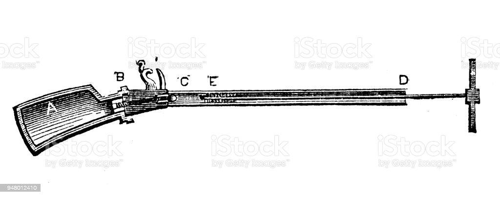 Antique engraving illustration: Air gun vector art illustration