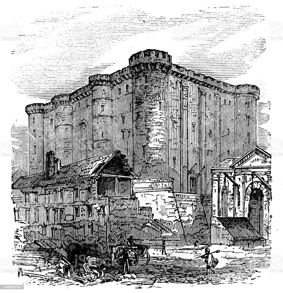 Ancienne gravure illustration: Bastille - Illustration vectorielle