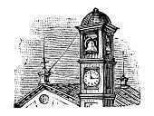 Antique engraving illustration: Belltower