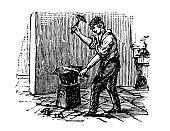 Antique engraving illustration: Blacksmith