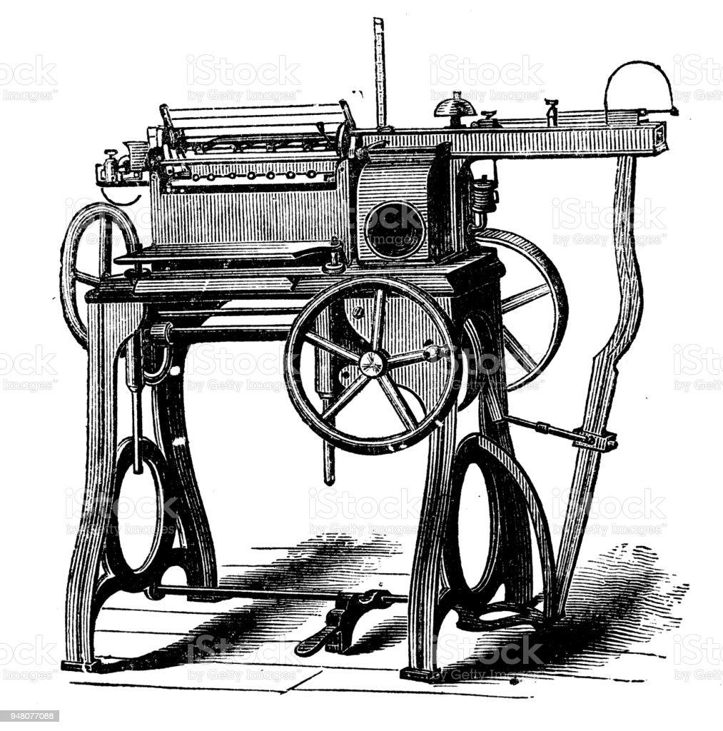 Ilustración de Antiguo Grabado De La Ilustración La Máquina De Coser ...