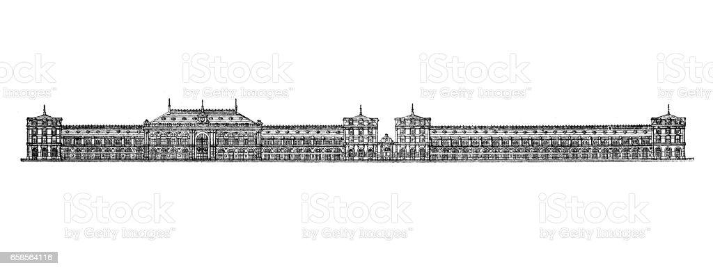 Ancienne gravure illustration: la gare de Bordeaux - Illustration vectorielle