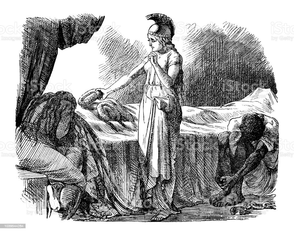 Antique engraving illustration: Britannia with Columbia vector art illustration