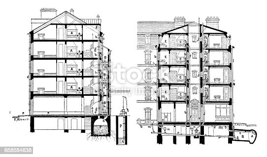 Antique engraving illustration: buildings blueprint sections