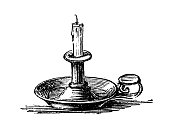 Antique engraving illustration: Candle