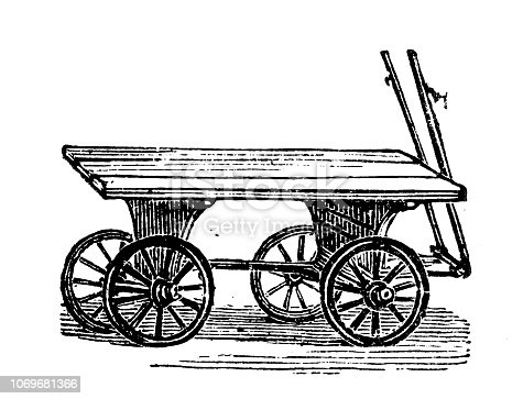 Antique engraving illustration: Cart