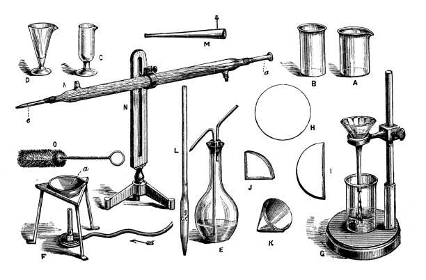 Antique engraving illustration: Chemistry equipment vector art illustration