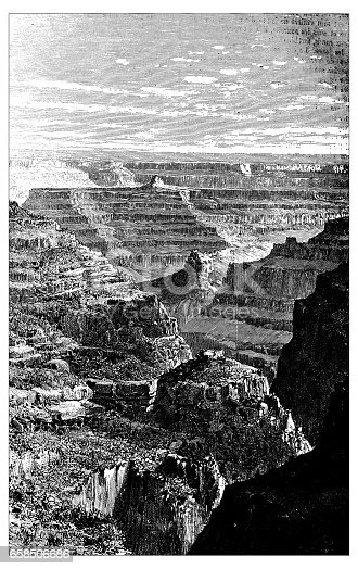 Antique engraving illustration: Colorado canyon